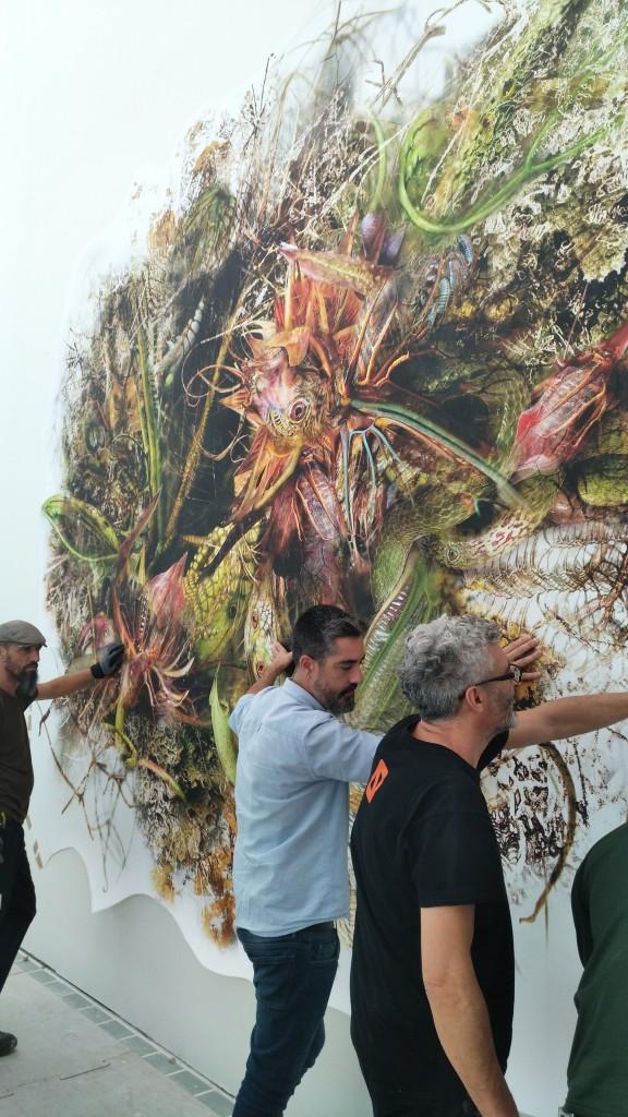 Genetic Drift: Symbiont III, installation in progress at the Museo de Arte Moderno de Barcelona
