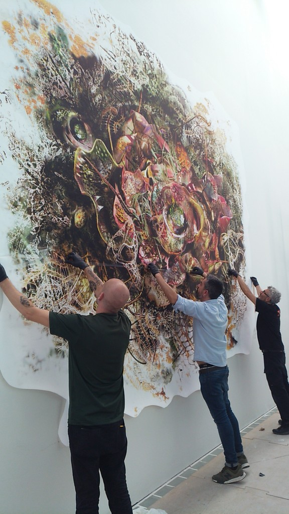 Genetic Drift: Symbiont II, installation in progress at the Museo de Arte Moderno de Barcelona